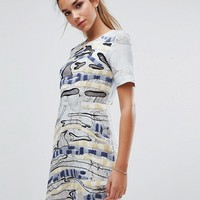 French Connection Derain Stitch Shift Dress at asos.com