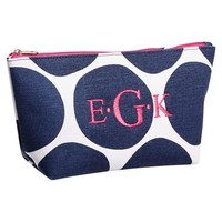 Surf Swell Beauty Pouch, Navy Oversized Dots