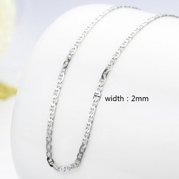 "925 Sterling Silver Flat De Gaulle Chains Necklaces Women Girls 45cm 18"" Italy Jewelry kolye collares collane collier ketting"