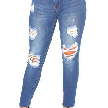 Women's Faded Denim Blue Wash Distressed Jeans