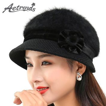 [AETRENDS] 2017 Winter Princess Rabbit Beret Hat Women Knitted Cap Berets New Year Gift Warm Beanies for Mom or Grandma Z-6136
