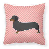 Dachshund Checkerboard Pink Fabric Decorative Pillow BB3582PW1818