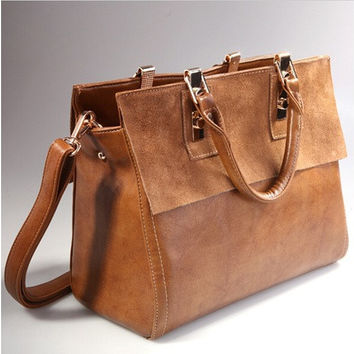 Fashion Womens Real Leather With Nubuck Retro Classic Style Brown Satchel Messenger Bags [10198321095]