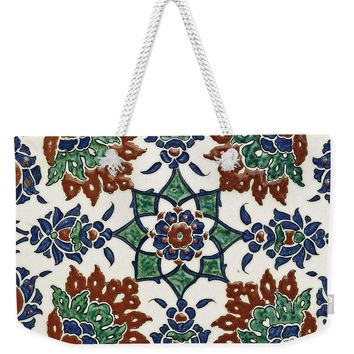 An Ottoman Iznik Style Floral Design Pottery Polychrome, By Adam Asar, No 13l - Weekender Tote Bag