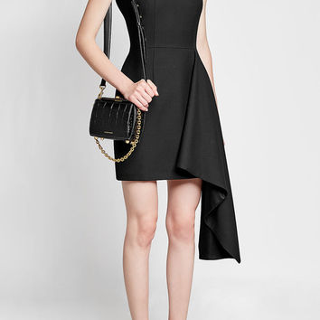 Dress in Wool and Silk with Draped Accent - Alexander McQueen | WOMEN | US STYLEBOP.COM