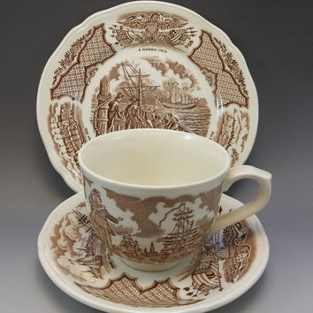 Alfred Meakin Fair Winds Staffordshire Brown Transferware Tea Cup Saucer England