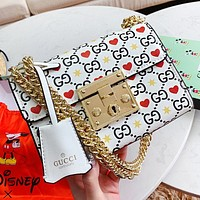 GUCCI New fashion more letter love heart star print leather chain shoulder bag crossbody bag White
