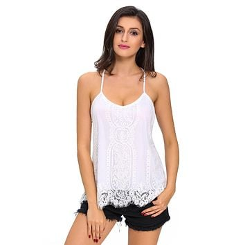 White Scalloped Lace Tank Top