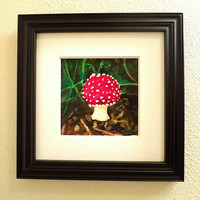 Red Toadstool Mushroom Original Watercolor Painting