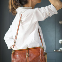 Frame Bag Purse Tan Genuine Leather. Vintage Shoulder Bag for women. Classic Brown Rectangular Bag. Bag Retro Clutch 80s Top handle Bag Gift