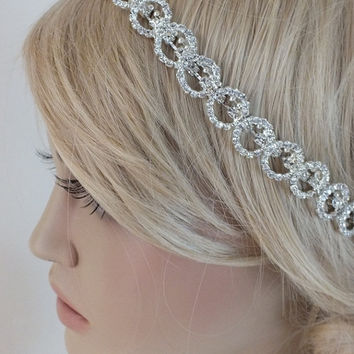 Rhinestone Headband, Bridal rhinestone headband, Crystal Headband, Wedding Halo Bridal tie on ribbon Headband Headpiece,