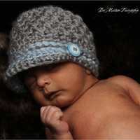 Baby Boy, Set, Coming Home Set, 0 to 3 months, Crochet Diaper Set, Newsboy Hat, Hat Set, Gray, Blue, Photo Prop, READY TO SHIP