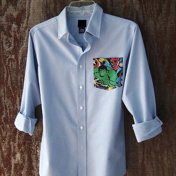 MARVEL Avenger shirt upcycled comic pocket light blue oxford button down long sleeve Incredible Hulk GAP Kids BOYS unisex
