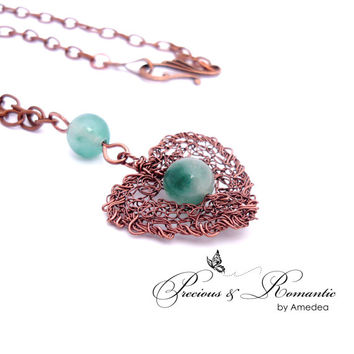 Moss Jade Heart necklace, wire crochet pendant, gemstone jewerly, heart pendant, antique copper wire, moss jade jewerly, Valentine gift