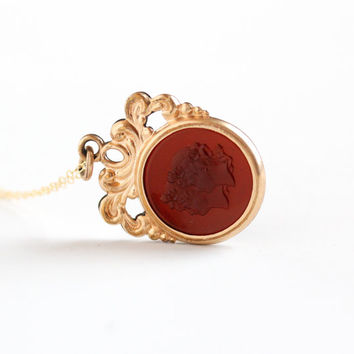 Antique Gold Filled Simulated Carnelian Female Woman Cameo Intaglio Necklace - Vintage Early 1900s Edwardian Red Glass Fob Pendant Jewelry