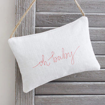 Oh BABY Lavender Sachet, Stitched Handwriting, Nursery Decor