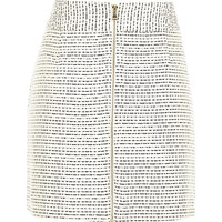 River Island Womens Cream boucle A-line zip front skirt