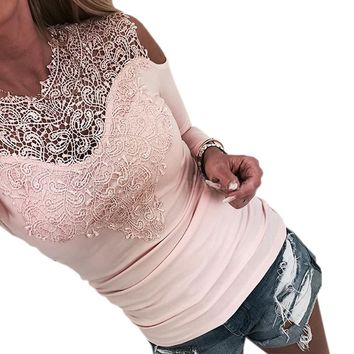 Off Shoulder Top Autumn Patchwork Lace Women T-shirt 2018 New Fashion Shirts Solid Sexy Tshirt Long Sleeve Slim Tee Jumper GV256