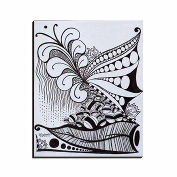 Nature Zen Doodle - Wrapped Canvas of Ink Fine Art Drawing