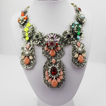 Colorful Shourouk New Design Woman Bib Statement Luxury Rainbow Multi Crystal necklace Collar 898