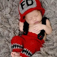 Newborn Fireman Fire Fighter Baby Prop Knit Outfit - CCC241