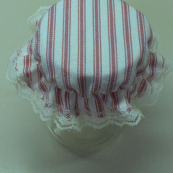 6 Rose Pink Ticking Mason Canning Jar Bonnets/Jar Topper /Jar Lid Cover