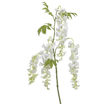 Faux Wisteria Stem - White