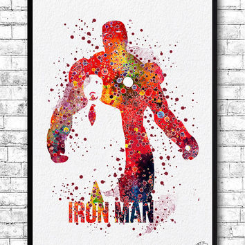 Iron Man Watercolor Print Avengers Poster Marvel Giclee Art Children's Wall Art Wall Hanging Birthday Gift Superhero Print Iron Man Poster