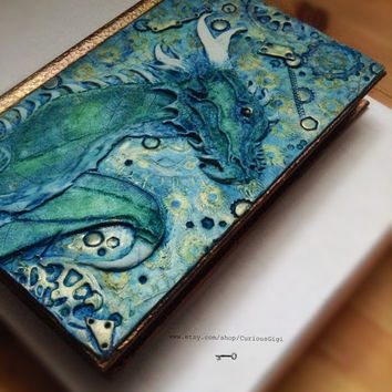 Dragon journal, handmade original polymer art, sketch book