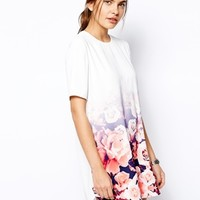 Finders Keepers Good Fortune T-Shirt Dress in Ombre Floral