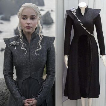 Game of Thrones Season 7 Daenerys Targaryen Cosplay Costume with Brooch