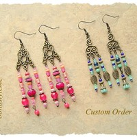 Custom Order - Boho Earrings, Modern Hippie, bohostyleme, Bohemian Jewelry, Colorful, Boho Style Me, Kaye Kraus