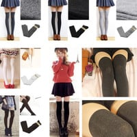New Fashion Girls Womens Lady Thigh High OVER Knee Socks Long Cotton Stockings