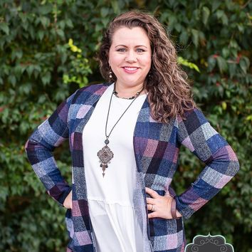 Navy Plaid Cardigan