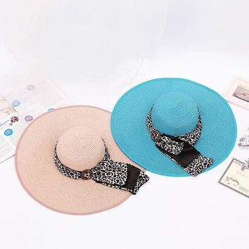 Fashion Summer Women Sun Hat Leopard Button Ribbon Decorate Sunscreen Foldable Straw Hats For Beach Wide Large Brim Hat