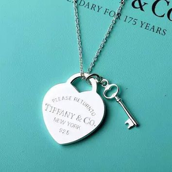 Tiffany & Co. Sterling Silver Heart Brand Small key necklace