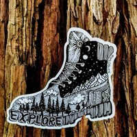 Hiking Boot Sticker 4""
