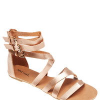 Strappy Buckled Ankle Faux Leather Sandals   Wet Seal