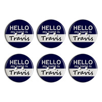Travis Hello My Name Is Plastic Resin Button Set of 6