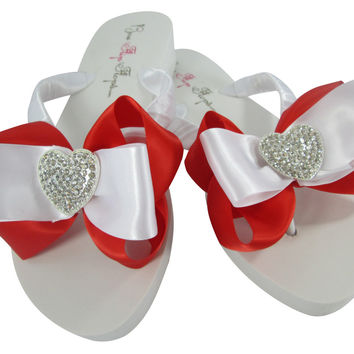 Red Wedding Heart Flip Flops on Ivory or White Wedges