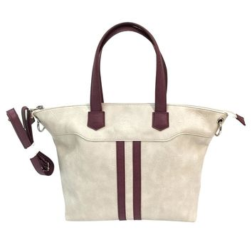 Satchel Purse w/ Holster & Large Zippered Compartment Off White w/ Burgundy Trim