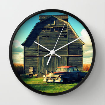 1950 Cadillac & Barn Wall Clock by Lyle Hatch