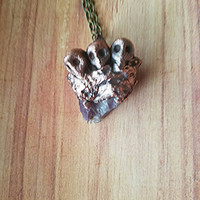 Skull and Amethyst Pendant OOAK Electroformed Electroplated Copper Pendant Wiccan Jewelry Witchcraft Gift for Her