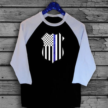 Police Officer Wife Thin Blue Line American Flag Police Badge Two Toned Baseball, V-Neck or Scoop Neck T-Shirt