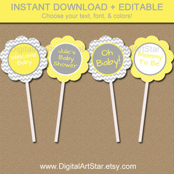 Yellow Gray Baby Shower Cupcake Toppers - Printable Chevron Party Decor - Birthday, Bridal Shower Favor Tags - INSTANT Gender Neutral Tags