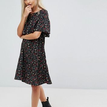 Yumi Petite Cape Detail Dress In Small Floral Print at asos.com