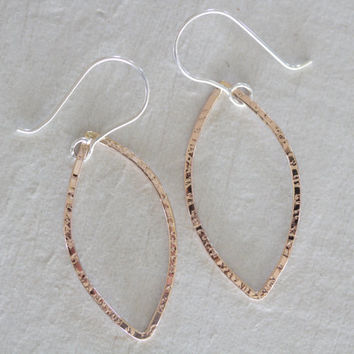 Rose Gold Leaf Open Earrings - 2 Inch Hammered Gold Filled Leaf Earrings - Hand Hammered, Everyday Jewelry, Spring 2016, Empowering Jewelry