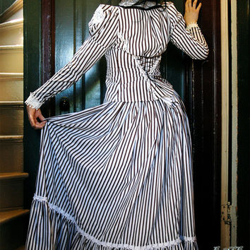 Striped Steampunk Victorian Blouse - Adult Halloween Costume - High Neck Lace Collar - Tim Burton Style- Custom to Your Size
