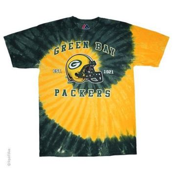 ICIKG8Q NFL Green Bay Packers Spiral Tie-Dye T-Shirt