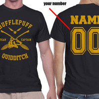 Custom Name and Number on back, Hufflepuff Quidditch team Captain on MEN tee